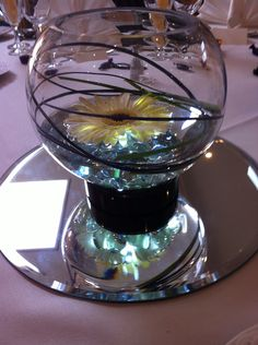 A simple fish bowl with a single gerbera stood on a led up lighter.