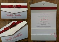 Red Pocket Fold Wedding Invitation with  Diamante Heart  www.jenshandcraftedstationery.co.uk www.facebook.com/jenshandcraftedstationery