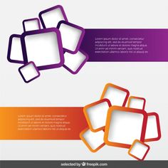 Banners pack with rounded squares Free Vector. Rounded corners and bunch of pics