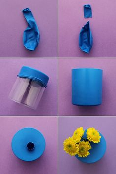 Make colorful bud vases using balloons and shot glasses or small glasses. Fun Crafts, Diy And Crafts, Arts And Crafts, Diy Projects To Try, Craft Projects, Genius Ideas, Black Vase, Vases Decor, Wall Vases