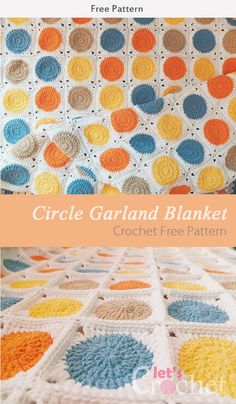 This Circle Garland Blanket Crochet Free Pattern is a fun and simple blanket that is a bright and colorful. Make one now with the pattern provided below. Granny Square Crochet Pattern, Afghan Crochet Patterns, Crochet Squares, Crochet Afghans, Granny Squares, Easy Granny Square, Crochet Granny, Double Crochet, Crochet Crafts