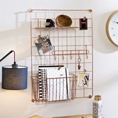 decor organization Copper Grid Bundle Enhance your vertical storage with this stylish copper grid system. and a Copper shelf attachment Home Office Design, Home Office Decor, Home Decor, Desk Inspiration, Cute Room Decor, Aesthetic Room Decor, Home Office Organization, Dorm Room, Bedroom Decor