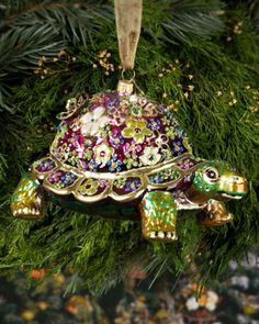 Mille Fiori Turtle Christmas Ornament by Jay Strongwater at Horchow.