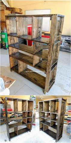 How about having cupboard design into one pallet idea? Well see this creation! You will be catching so much of the simplicity and awesome use of the creativity over this creation. For what purpose you will be using it? It is open cupboard design with the placement of shelving divisions into it.