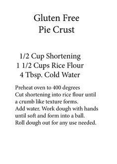 Gluten Free Pie Crust--simple?!