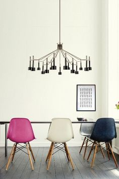 Colorful chairs for a dining room and a black chandelier - Etta from DelightFULL // 7 Happy Dining Room Ideas to your Summer House - see more at http://www.homedesignideas.eu/happy-dining-room-ideas-summer-house/