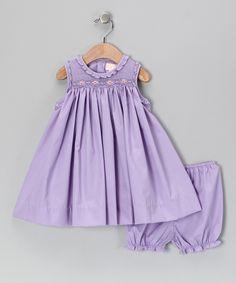 Lavender Smocked Babydoll Dress & Bloomers - Infant