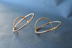 Hoop Earrings – Gold circle 3D stud, geometric earrings – a unique product by PerfectPresent via en.DaWanda.com