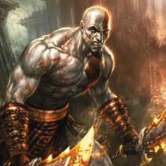 God of War : Kratos wielding blades of chaos artistic sketchup