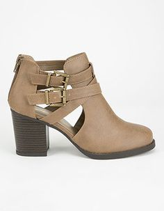 Cut Out Suede Booties - Natural