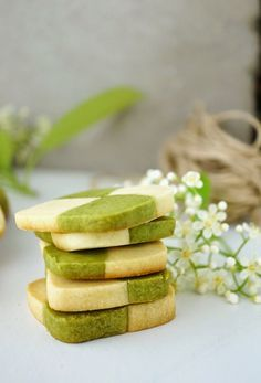 ... matcha checkerboard shortbread cookies ...