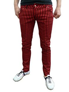 2ccf1cb41f6d Mens and Womens Skinny Jeans Drainpipe Striped Mod Indie Trousers Red Black  (34 waist /