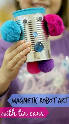 Create movable magnetic robot art with tin cans and craft supplies. Recyclables and on-hand items make this DIY project each as can be. Lots of fun! Tin Can Crafts, Easy Arts And Crafts, Crafts For Kids, Tin Can Robots, Robots For Kids, Diy Robot, Robot Art, Robot Crafts, Recycle Cans