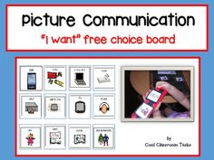 "Picture Communication ""I want"" free choice - Autism/Special EducationBlue, pink and white choice boards37 visuals  for choice board - includingmusic, edibles, PC, technology equipment, sensory visuals and much more.Empty boxes to make your own visualsSimply laminate the visuals and the board of your choice and Velcro in place, laminate the sentence strip and place it in the position provided.Mayer-Johnson 2100 Wharton Street Suite 400 Pittsburgh, PA 15203"