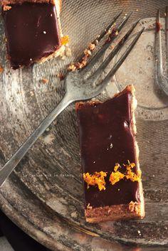 Tarte chocolat-orange (pâte sablée, crème amande, confit d'orange à la vanille, ganache chocolat noir)