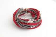Wrap Bracelet Red Gray Wrap Bracelet Leather wrap by cardioceras, $24.80