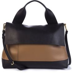 Marni Two-Tone Leather Satchel (111,165 PHP) ❤ liked on Polyvore featuring bags, handbags, apparel & accessories, genuine leather purse, leather satchel purse, genuine leather satchel handbags, top handle leather handbags and leather purse