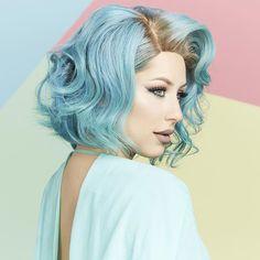 Soft aqua hair with body wave curls Hair Color Blue, Blue Hair, Pastel Hair, Ombre Hair, Over The Top, Coloured Hair, Dye My Hair, Mermaid Hair, Rainbow Hair