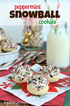 Peppermint Snowball Cookies - easy cookies dipped in chocolate and candy cane pieces www.insidebrucrewlife.com