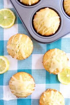 Sweet, moist lemon poppyseed muffins, made with Greek yogurt and topped with a tart lemon glaze. Enjoy for breakfast on the go, or a quick snack.