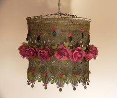 Lacy Hanging Lamp Shade - Lovely Pink Roses  Handmade item Materials: beads, glass, Czech, flowers, leaves, fabric, lace, silk, chain, old gold color