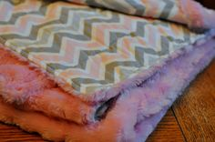 grey and pink chevron weighted blanket