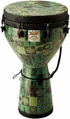 """Remo Designer Series Key-Tuned 14"""" x 25"""" Djembe, Green KinteKloth Finish by Remo. $214.97. Playing Remo's new Designer Series Djembes you'll hear quality tones that only this djembe with the Skyndeep drumhead can produce. In Africa, one of the Djembe's functions is as a healing drum. Remo Djembes are based on the same traditional Djembe tone and form combined with Remo's modern advances including a wide range of tuning systems, heads, finishes and sizes."""