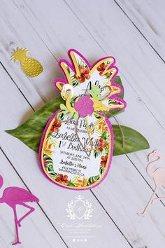 Luau Invitations, tropical Invitation, girl birthday, Luxury Invitation, Pineapple invitation, glitter