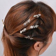$1.67 5Pcs/set Classic Elegant Silver Snow Flower Hair Clips Hair Decoration - BornPrettyStore.com