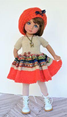 Crochet Doll Dress, Crochet Doll Clothes, Knitted Dolls, Girl Dolls, Baby Dolls, Woolen Clothes, Homemade Dolls, Effanbee Dolls, Dolly Fashion