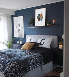 36 cozy blue master bedroom design ideas 20 - All About Decoration Blue Master Bedroom, Blue Bedroom Decor, Master Bedroom Design, Bedroom Art, Modern Bedroom, Dark Blue Bedroom Walls, Grey Walls, Dark Blue Walls, Nautical Bedroom