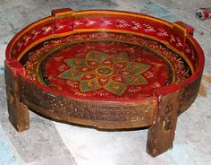 Indian Chakki table with Rajastani painting....oh yes..coming in May 2016
