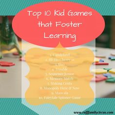 Great top 10 list of fun, educational children's games. I love to play all of these too! Visit our blog for a description of each and the chance to buy them!