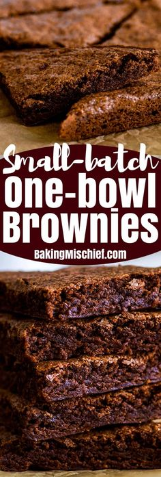 bowl, 5 minutes prep, and 8 ingredients are all you need to make these super quick, easy, and delicious small-batch brownies with crunchy edges and fudgy centers. Keto Desserts, Quick Easy Desserts, Small Desserts, Mini Desserts, Chocolate Desserts, Quick Easy Brownies, Dessert Recipes, Mexican Desserts, Dessert Ideas