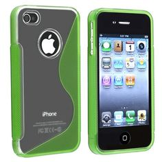 TPU Rubber Skin Case compatible with Apple? iPhone? 4 / 4S , Clear / Frost Green S Shape