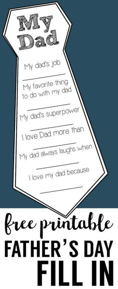 gifts for dad Fathers Day Free Printable Cards. DIY Fathers Day fill in cards are a great fathers day craft. Easy Fathers Day homemade gifts for Dad and Grandpa. Great Father, Mother And Father, Mothers, Father To Be, Father Sday, Birthday Present Dad, Birthday Gifts, Birthday Souvenir, Birthday Diy