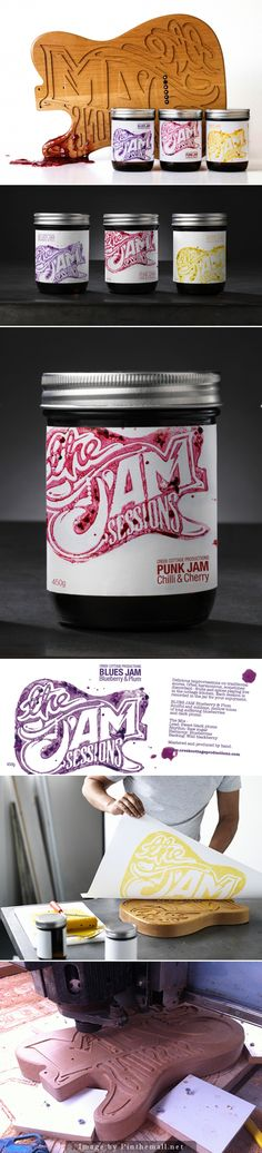 Sessions Jam Sessions - these are fantastic. Inspiration for my home jam labels.Jam Sessions - these are fantastic. Inspiration for my home jam labels. Food Packaging Design, Packaging Design Inspiration, Brand Packaging, Graphic Design Inspiration, Branding Design, Brand Inspiration, Food Graphic Design, Food Design, Jam Label