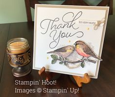 Stampin' Up! Best Birds.  Sale-A-Bration 2017 Thank You Card Handmade Stampin' Hoot!