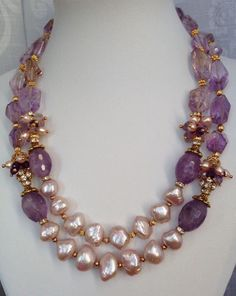 Amethyst & Baroque Pearls Necklace - prefer silver over gold Gold Jewellery Design, Bead Jewellery, Stone Jewelry, Pearl Jewelry, Bridal Jewelry, Beaded Jewelry, Jewelery, Handmade Jewelry, Pearl Necklaces