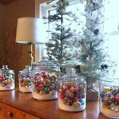 Shiny Brite Decorating Ideas - the most creative ideas for displaying Christmas ornaments like these clear glass jars filled with faux snow and ornaments holidayideas Christmas Kitchen, Rustic Christmas, Christmas Home, Christmas Holidays, Christmas Wreaths, Christmas Crafts, Merry Christmas, Southern Christmas, Christmas Displays