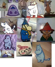 Hama Beads Moomin characters Fuse Bead Patterns, Beading Patterns, Knitting Patterns, Pearler Beads, Fuse Beads, Les Moomins, Hama Art, Hama Mini, Perler Bead Disney