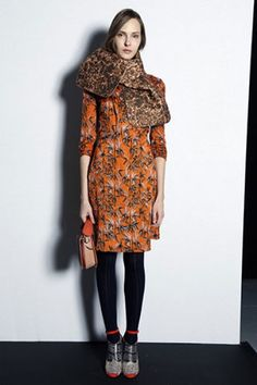 Carven, pre Fall. Love the shoes wore with black tights, and the pattern mix!