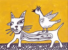 Catfish Cat with Bird by Holly Hinkle #OutsiderArt #folkart #artforsale West Virginia Artist