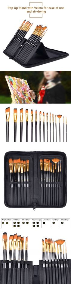 For Watercolor Oil Acrylic Paint Brushes Set Of 8 Pointed Round Kits Inventive Synthetic Bristles