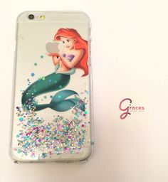 Ariel The Little Mermaid Glitter Iphone 5  5s 4 4s 5c 6 6plus phone Case cover, Glittery Sparkly bling Disney Real glitter. Hard resin by GracesGlitterCases on Etsy https://www.etsy.com/listing/208222870/ariel-the-little-mermaid-glitter-iphone