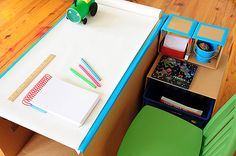 DIY Pop - Up Desk For Kids - 5 Boxes + 8 Binder Clips + Fun Secret Reading Nook = Awesome Pre- K Desk