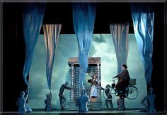 Representation of tornados.The Wizard of Oz - Barter Theatre, June 2009. Scenery & Projection design by Richard Finkelstein. Lighting by Lucas Krech,  Costumes and Choreography by Amanda Aldridge, Flying by Delbert Hall, Directed by Richard Rose.