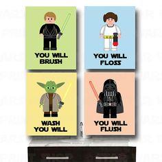 LEGO Star Wars Bathroom Wall Art  Jedi Mind Trick Set  by StarWarsPrintShop, $32.00