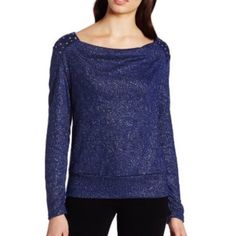 INC Studded Sweater All over sparkle sparkles even higher with jeweled and studded accents at each shoulder. Pair with shorts in the summer and leggings and booties in the fall and winter. INC International Concepts Sweaters