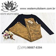 Calça Flare Jacquard Estampada R$ 9800  Camiseta Manga Longa R$ 3000 #vestemuitobem #moda #modafeminina #modaparameninas #estilo #roupas #lookdodia #like4like #roupasfemininas #tendência #beleza #bonita #gata #linda #elegant #elegance